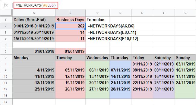 La fonction JOURS DE RÉSEAU dans Google Sheets, calculant les jours ouvrables entre deux dates et ignorant le samedi et le dimanche, en utilisant les dates de deux références de cellule