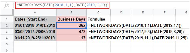 La fonction JOURS DE RÉSEAU dans Google Sheets, calculant les jours ouvrables entre deux dates et ignorant le samedi et le dimanche à l'aide d'une formule DATE imbriquée