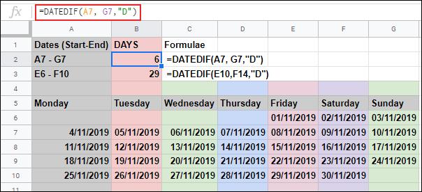 La fonction DATEDIF dans Google Sheets, calculant le nombre de jours entre deux dates, à l'aide de deux références de cellules individuelles