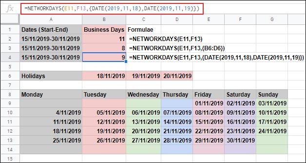 La fonction JOURS DE RÉSEAU dans Google Sheets, calculant les jours ouvrables entre deux dates et ignorant le samedi et le dimanche, les jours de vacances supplémentaires étant exclus