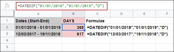 La fonction DATEDIF dans Google Sheets, calculant le nombre de jours entre deux dates fixes utilisées dans la formule