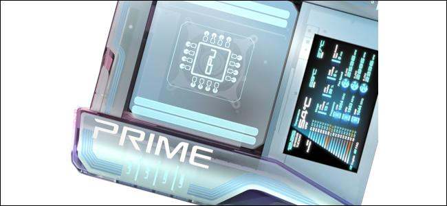 Un PC futuriste blanc et clair avec un petit écran tactile attaché.