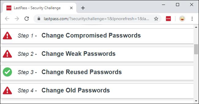 Le défi de sécurité LastPass montrant les mots de passe compromis, faibles, réutilisés et anciens.