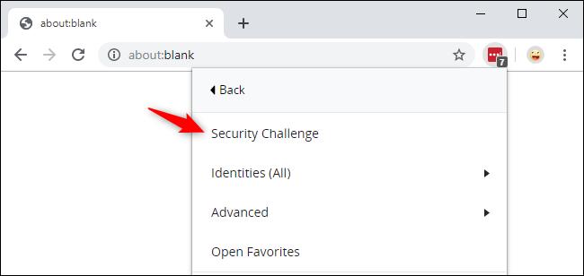 Lancement du défi de sécurité LastPass depuis Google Chrome.
