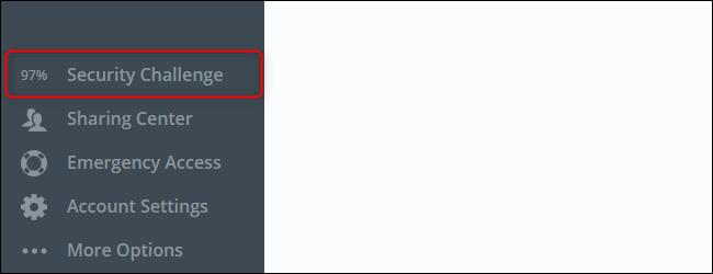 Le score LastPass Security Challenge affiché dans le coin inférieur gauche de votre coffre-fort.