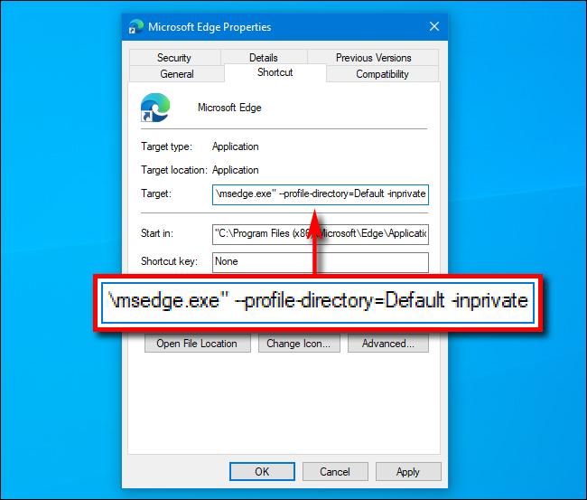 Ajouter InPrivate au chemin d'accès dans le raccourci vers Microsoft Edge sur Windows 10
