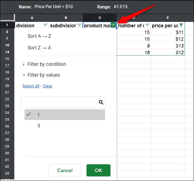 Ajoutez un autre filtre à la même vue en cliquant sur une icône de filtre supplémentaire dans la colonne que vous souhaitez filtrer.