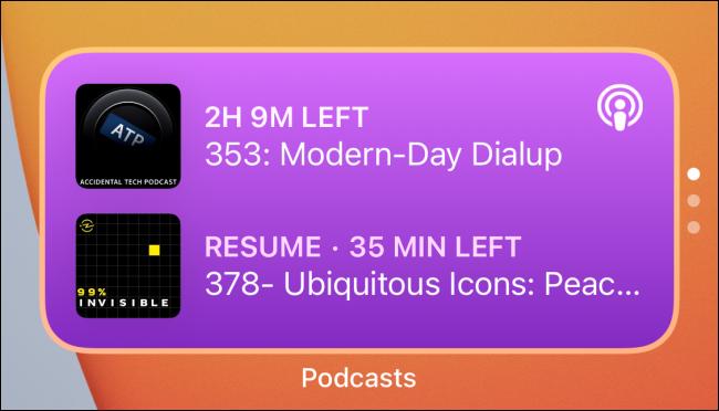 """UNE """"Podcasts"""" pile de widgets."""