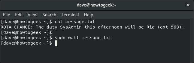 commande de mur utilisée avec un fichier texte dans une fenêtre de terminal
