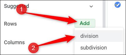 """Cliquez sur """"Ajouter"""", puis choisissez les lignes que vous souhaitez ajouter à votre table."""