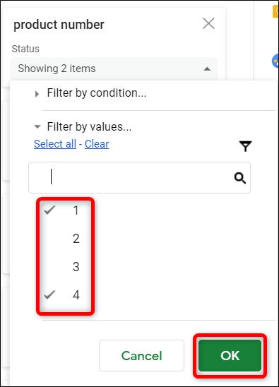 """Choisissez la manière dont vous souhaitez filtrer les données, puis cliquez sur """"D'ACCORD."""""""