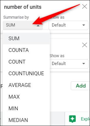Cliquez sur le menu déroulant de n'importe quelle valeur pour choisir la façon dont vous voulez qu'elles apparaissent dans le tableau.
