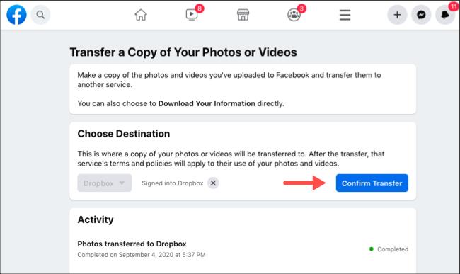 Confirmer le transfert des photos et vidéos Facebook