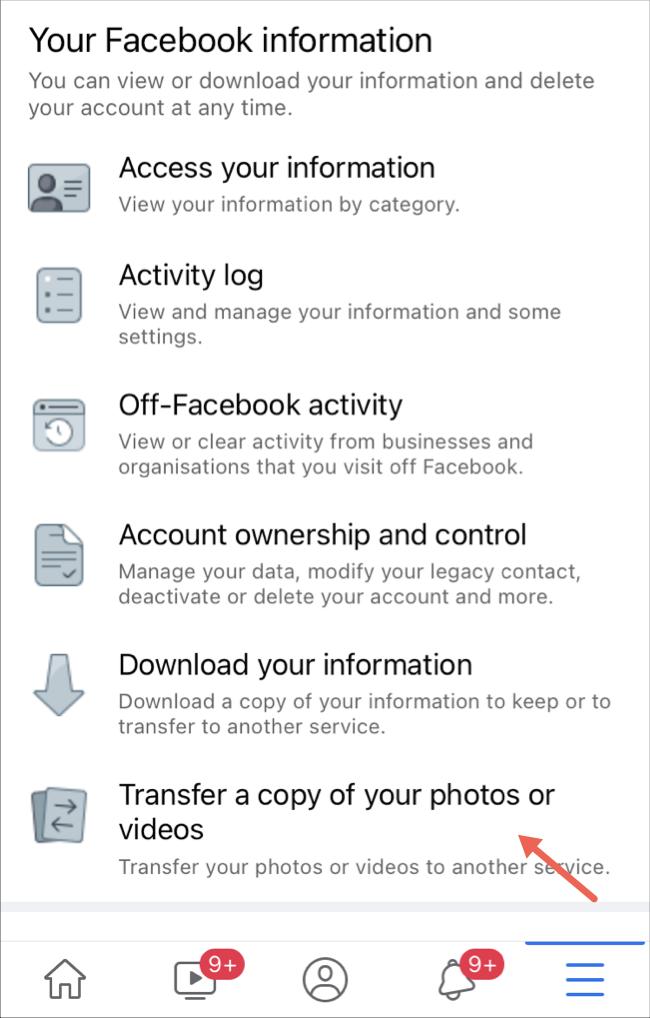 Sélectionnez l'option de transfert de photos et de vidéos sur l'application Facebook
