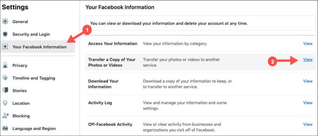 Sélectionnez Transférer la copie des photos et des vidéos dans les paramètres Facebook
