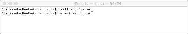 Commandes pour supprimer le serveur Web de Zoom d'un Mac