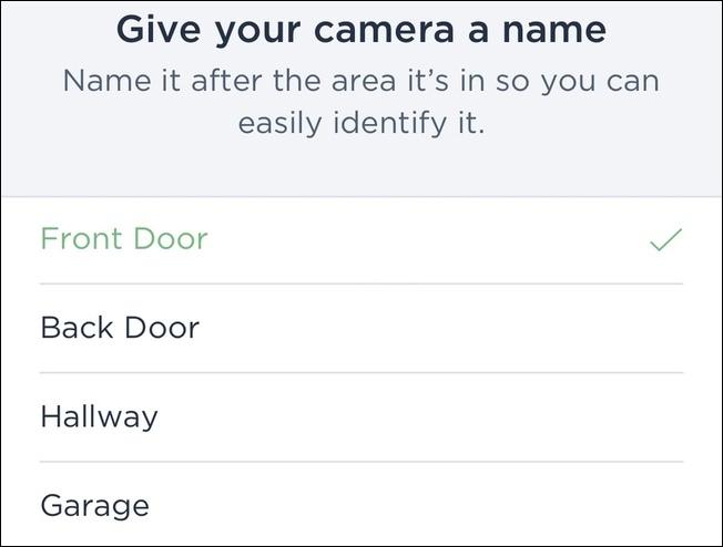 Sélection d'un nom de caméra pour votre ecobee