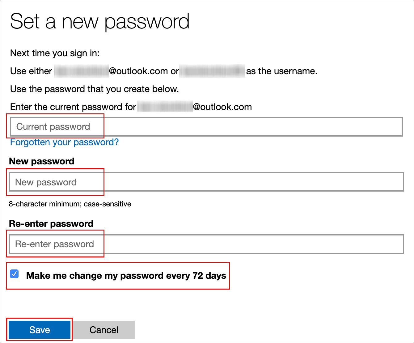 """Saisissez votre mot de passe actuel, saisissez un nouveau mot de passe, cochez la case à côté de """"Fais-moi changer mon mot de passe tous les 72 jours,"""" puis cliquez sur """"Sauver."""""""