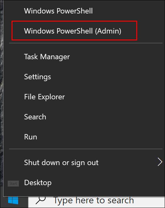 """Cliquez sur """"Windows PowerShell (administrateur)."""""""