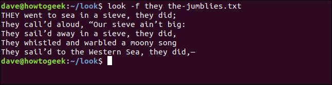 """Sortie de """"regarde -f ils le-jumblies.txt"""" dans une fenêtre de terminal."""