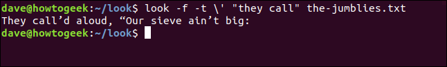 """Sortie de """"regarder -f -t  ' """"ils appelent"""" the-jumblies.txt"""" dans une fenêtre de terminal."""