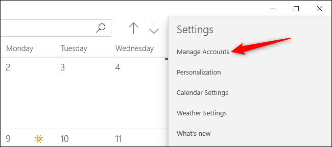 Gestion des comptes dans l'application Calendrier de Windows 10.