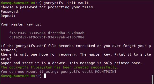 gocryptfs -init vault dans une fenêtre de terminal.