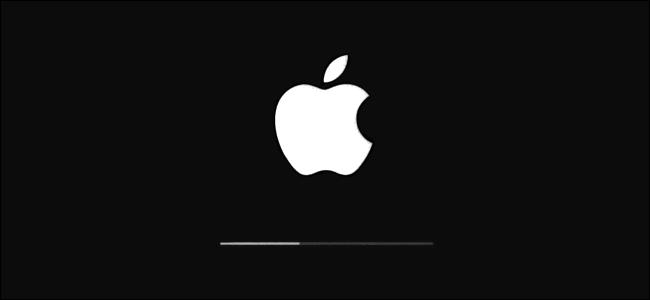 Le logo Apple et la barre de progression de la mise à jour sous iOS.