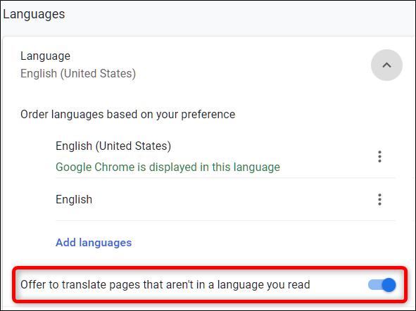 """Désactiver """"Proposez de traduire des pages qui ne sont pas dans une langue que vous lisez,"""" sous la rubrique Langue"""
