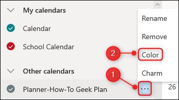 """le """"Couleur"""" option pour un calendrier."""