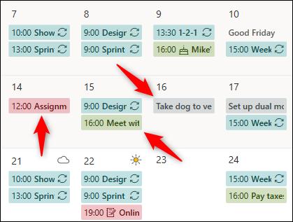 Rendez-vous du calendrier à partir de différents calendriers affichés avec différentes couleurs.