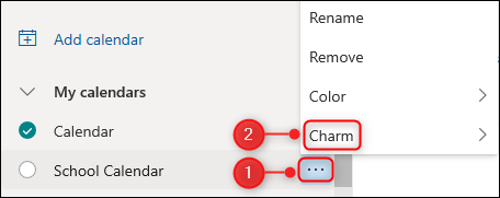 """le """"Charme"""" option pour un calendrier."""