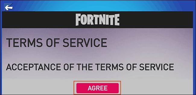 Acceptez les conditions d'utilisation de Fortnite