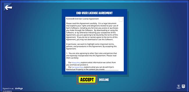 Acceptez le contrat d'utilisateur final pour les utilisateurs de Fortnite