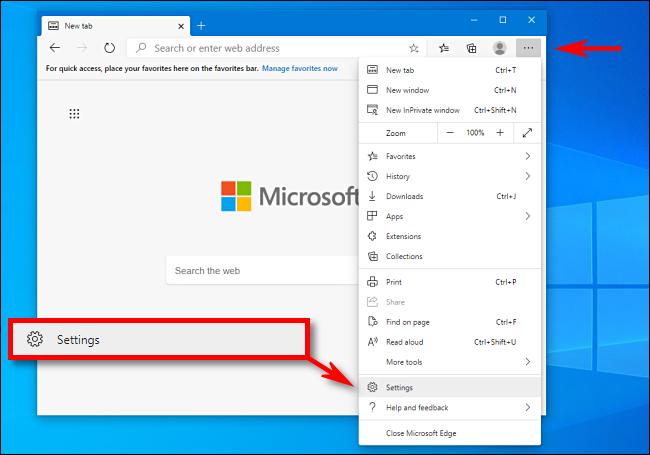 Cliquez sur Paramètres dans Microsoft Edge