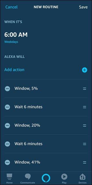 Une routine avec des commandes pour augmenter les lumières de 5%, attendre 6 minutes et répéter.