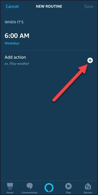 Nouvelle boîte de dialogue de routine avec flèche pointant pour ajouter une action plus