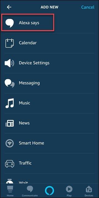 La routine ajoute une nouvelle boîte de dialogue avec une boîte autour d'Alexa indiquant l'option.