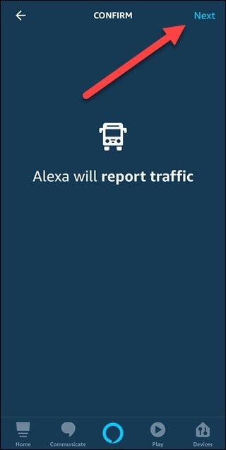 Option de confirmation du trafic avec la flèche pointant vers le bouton suivant.