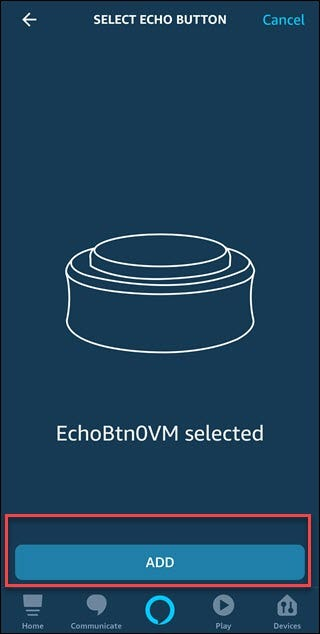 Sélectionnez la boîte de dialogue Bouton d'écho avec une boîte autour du bouton Ajouter.