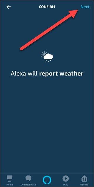 Option de confirmation météo avec flèche pointant vers le bouton suivant.