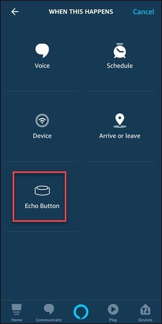 Lorsque cela se produit, dialogue avec appel autour du bouton Echo