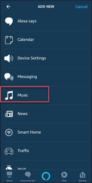 Routine ajouter une nouvelle boîte de dialogue avec une boîte autour de l'option Musique.
