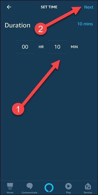 Définir la boîte de dialogue de l'heure avec des flèches pointant vers l'heure choisie et le bouton Suivant