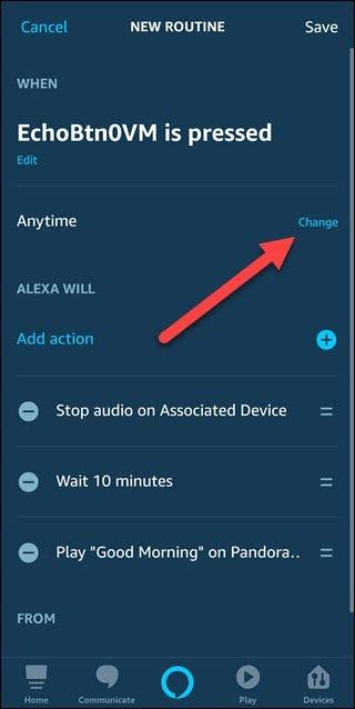 Nouvelle boîte de dialogue de routine avec une flèche pointant pour changer l'option à droite du texte à tout moment.
