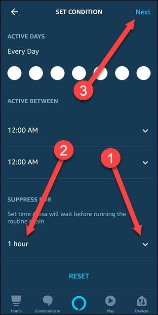 Définissez la boîte de dialogue des conditions avec des flèches pointant vers la flèche vers le bas, l'heure et la suivante.