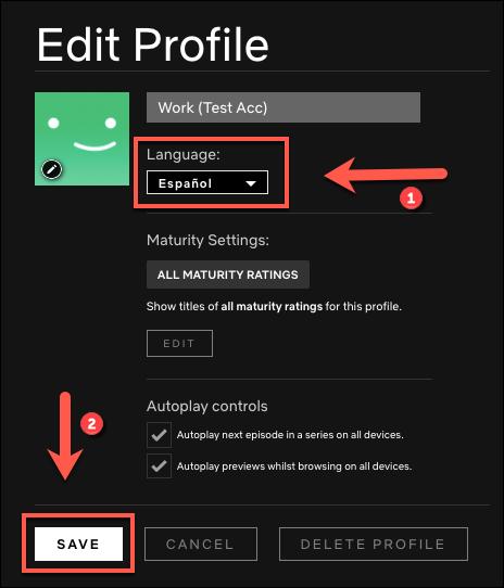 """Sélectionnez la langue dans laquelle vous souhaitez modifier votre profil, puis cliquez sur """"Sauver."""""""
