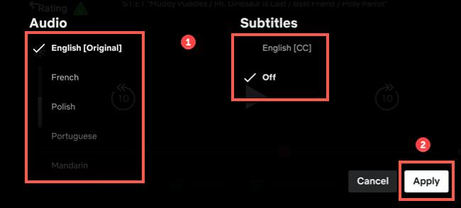 """Sélectionnez une langue, puis appuyez sur """"Appliquer."""""""