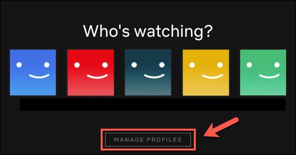 """Cliquez sur """"Gérer les profils."""""""