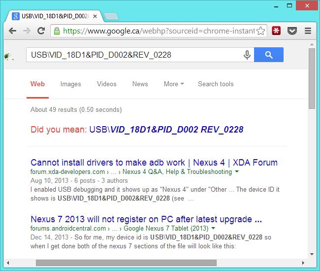 effectuer une recherche sur le Web pour les identifiants de matériel[4]